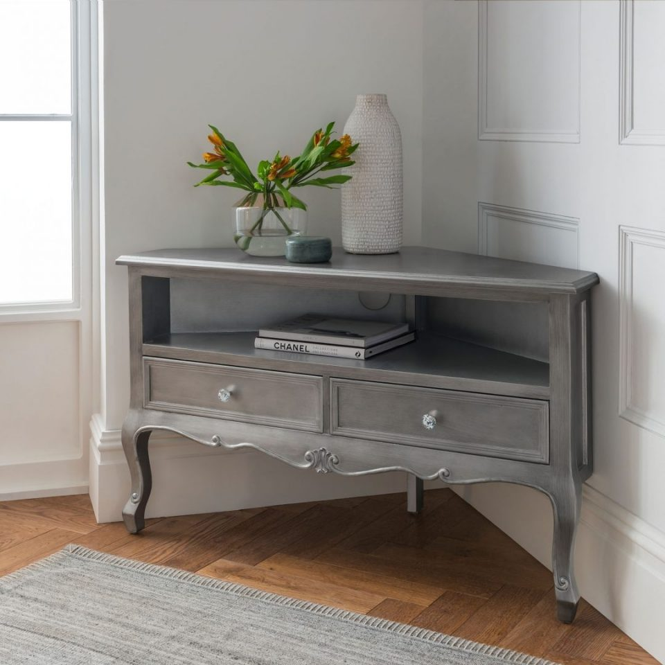 silver antique french style corner tv cabinet