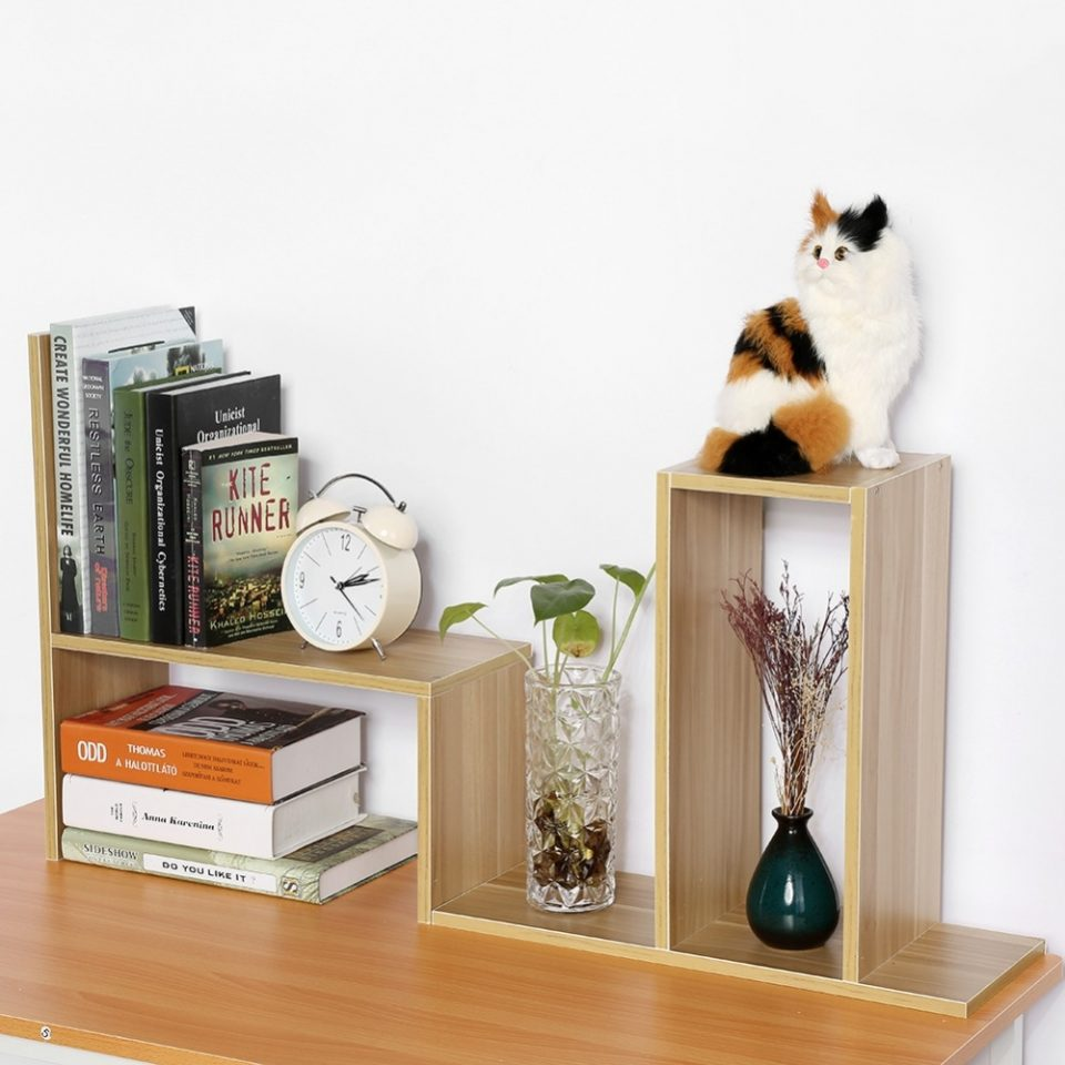 Small Wooden Book Organizer For Home Office