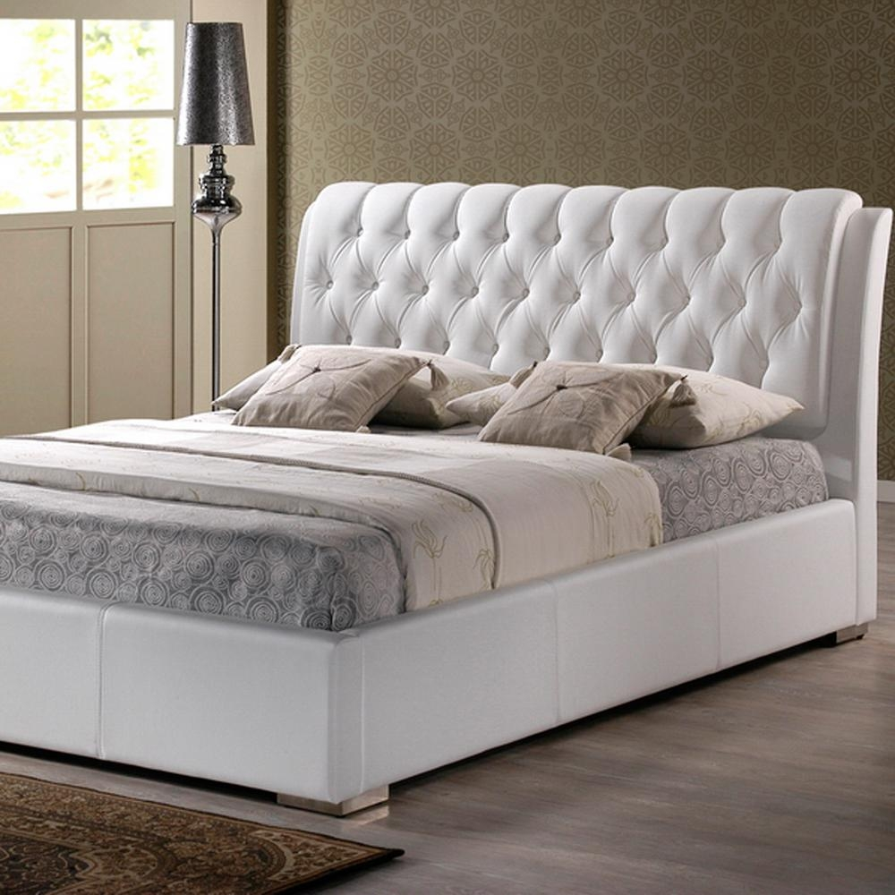 transitional white faux leather upholstered king size bed