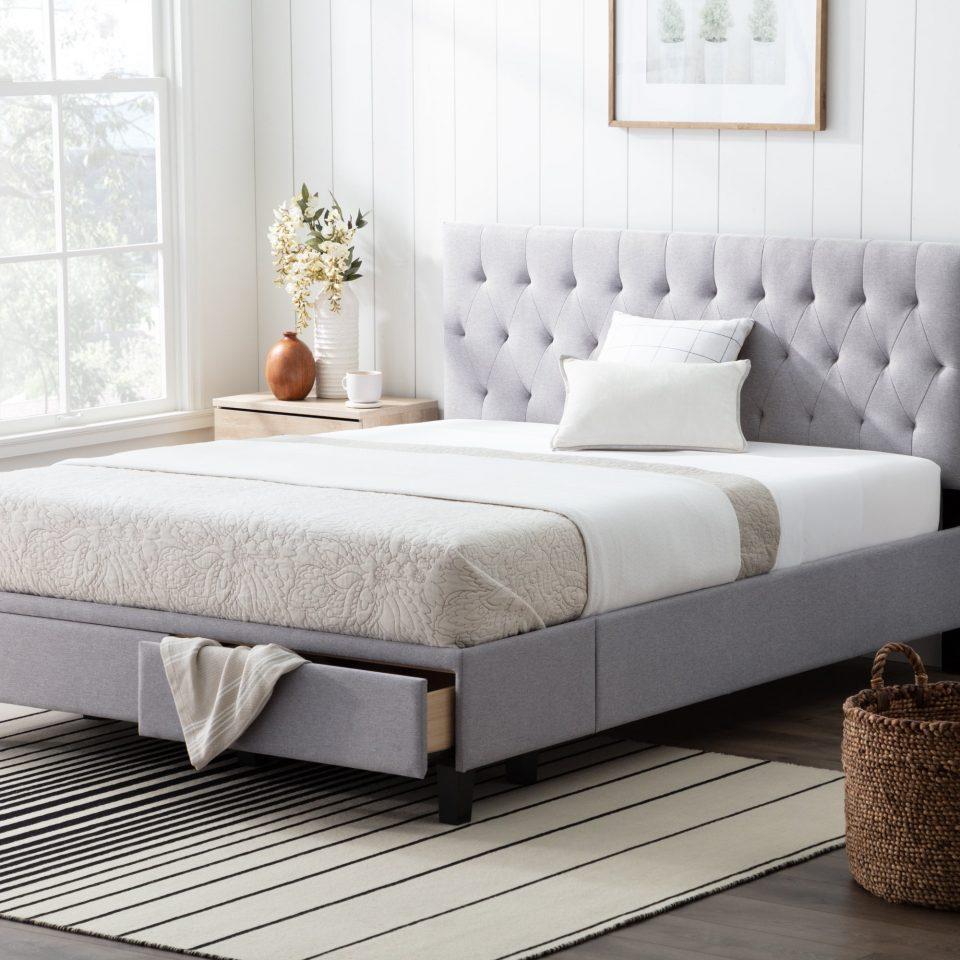 upholstered storage bed with drawers