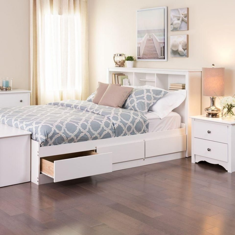 white full mates platform storage with 6 drawers