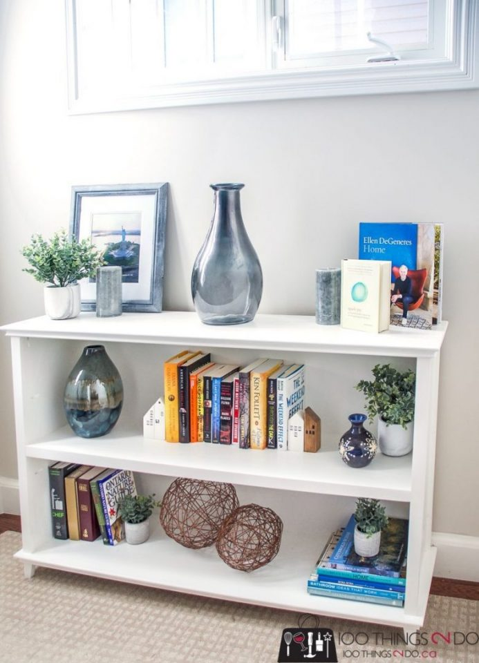 White Low Bookshelves