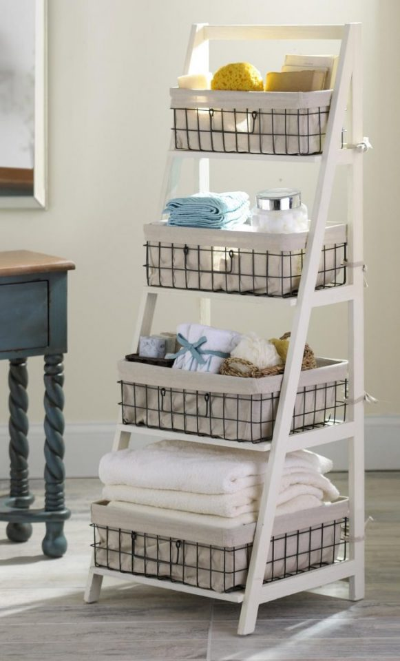 Wood Metal Ladder Shelf Basket