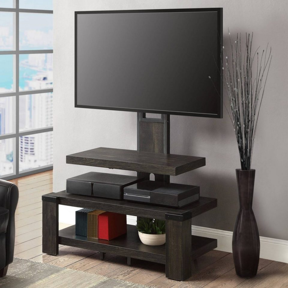 wood tv stand with mount durable 3 shelf