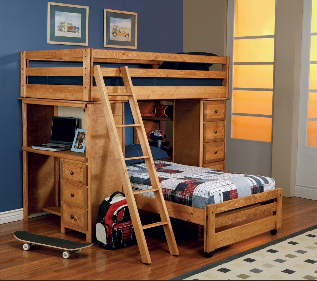 wooden bunk beds with desk