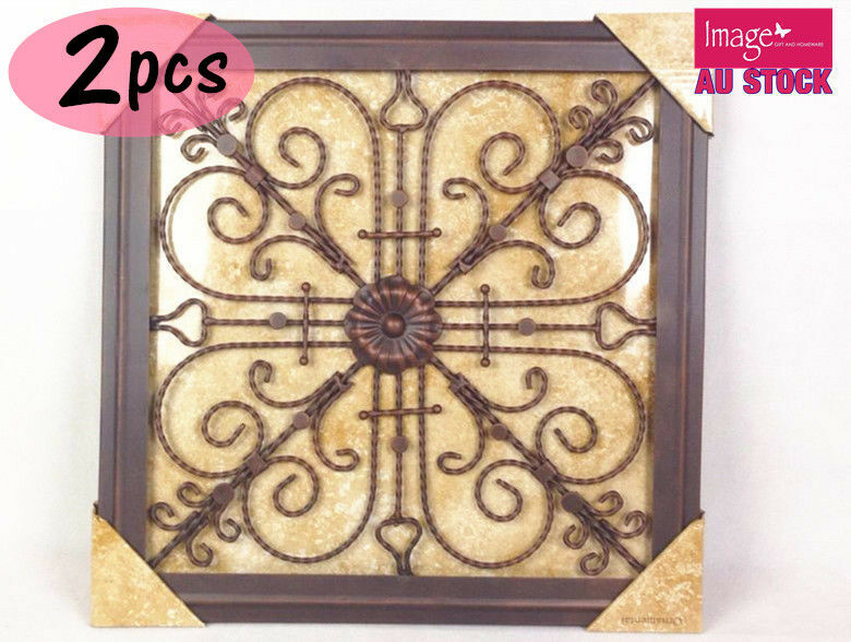 2x square heart curls abstract metal modern vintage wall