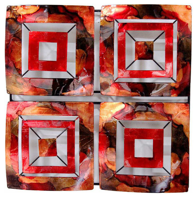 4 panel square metal wall decor lacquered copper red