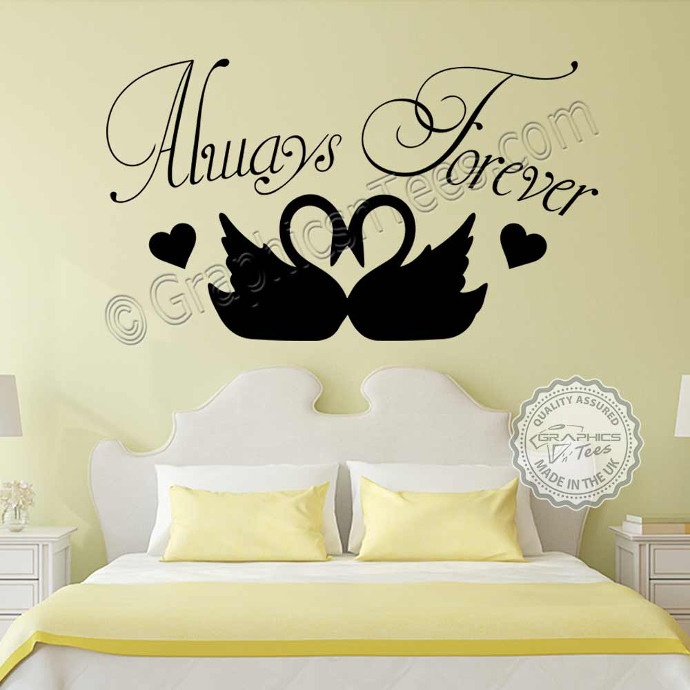 always forever romantic bedroom wall sticker quote with