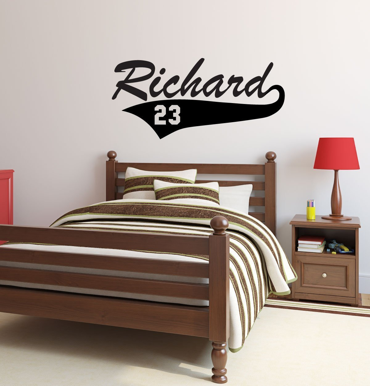 baseball player wall decals personalized player name and