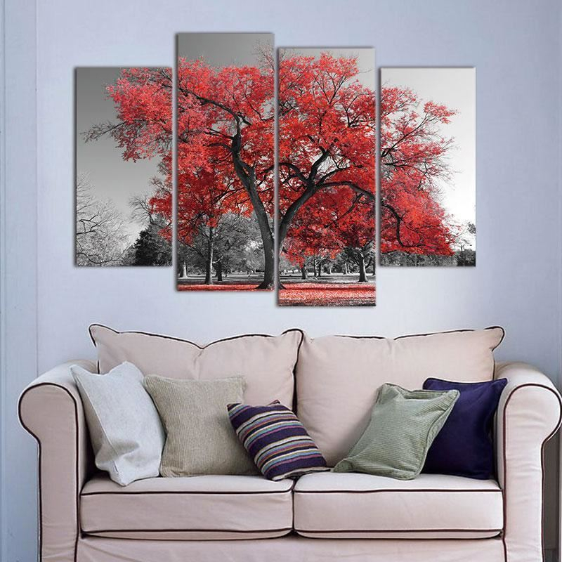 canvas painting modern wall art poster red tree landscape