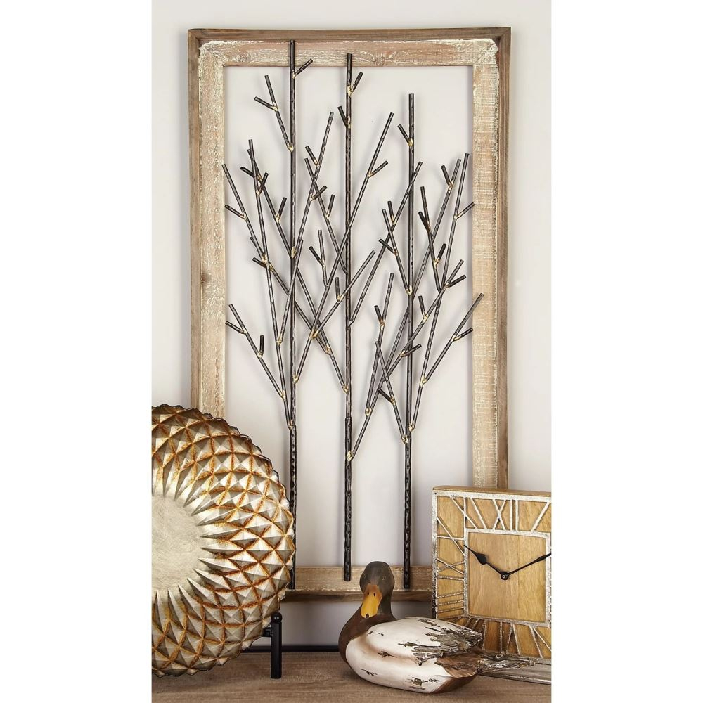 cassia distressed metal trees and wood wall dcor mocome