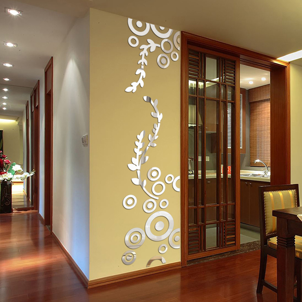 creative circle ring acrylic mirror wall stickers 3d home