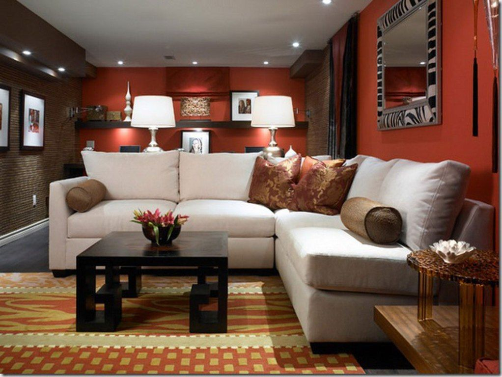 cute red paint living room walls with white fabric