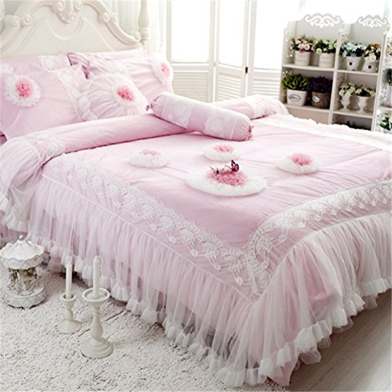 fadfay lace flannel bedding sets cute girls duvet cover