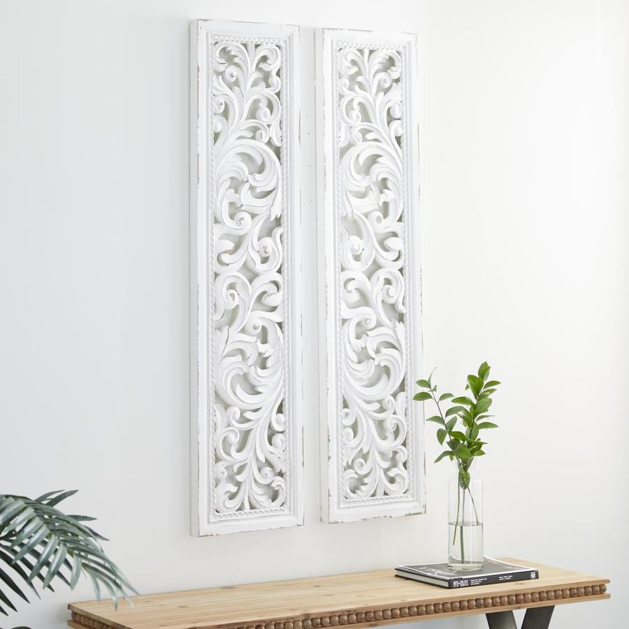 grayson lane tall distressed white carved wood wall decor