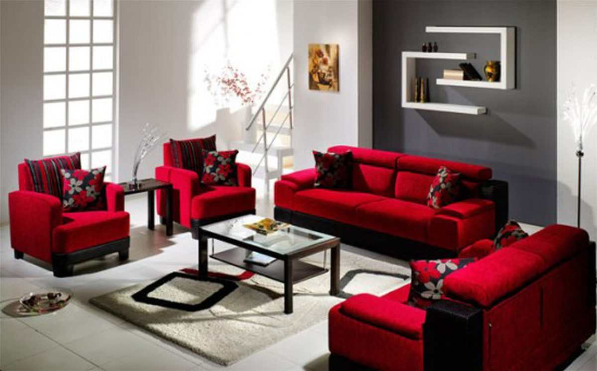 grey n red living room oh style