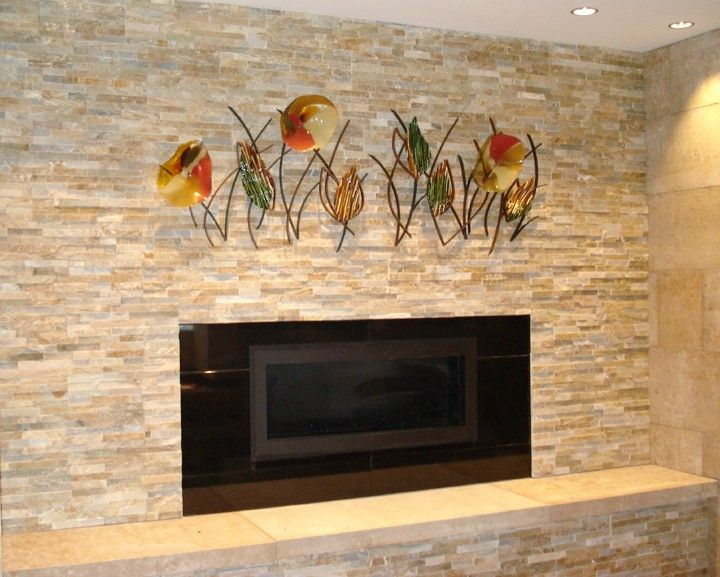 hand made blown glass fused glass and metal wall art