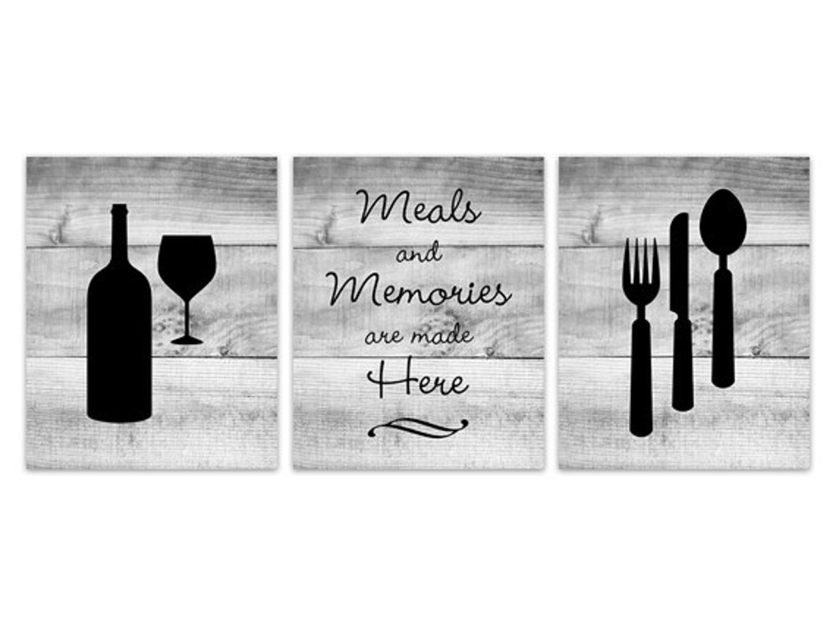 home decor art kitchen canvas art fork and spoon wall