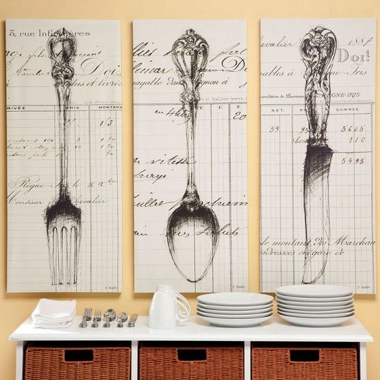 knife fork and spoon wall decor with wallpaper home