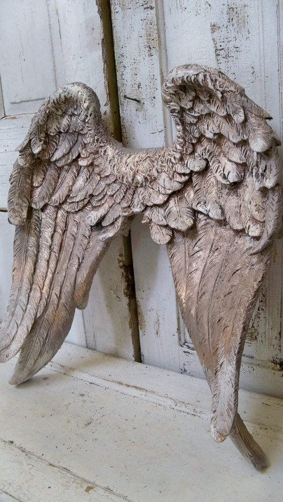 large angel wings wall sculpture hand painted putty gray