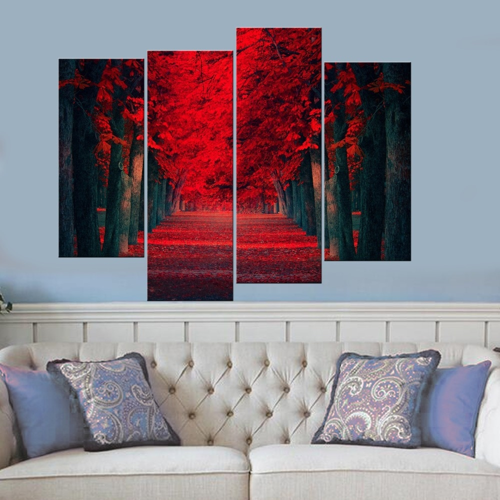 large red forest wall art for living room canvas print
