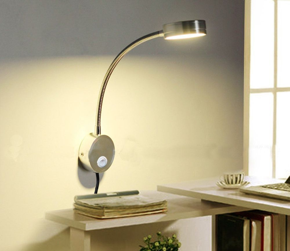 led reading light wall mount flexible lamp over the bed