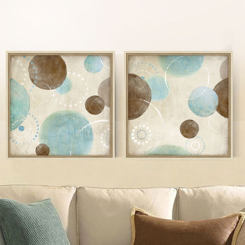 light blue beige brown circles modern abstract painting