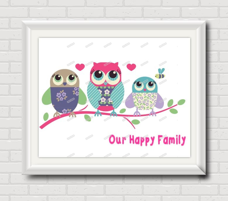 owl family nursery wall art poster print modern pictures