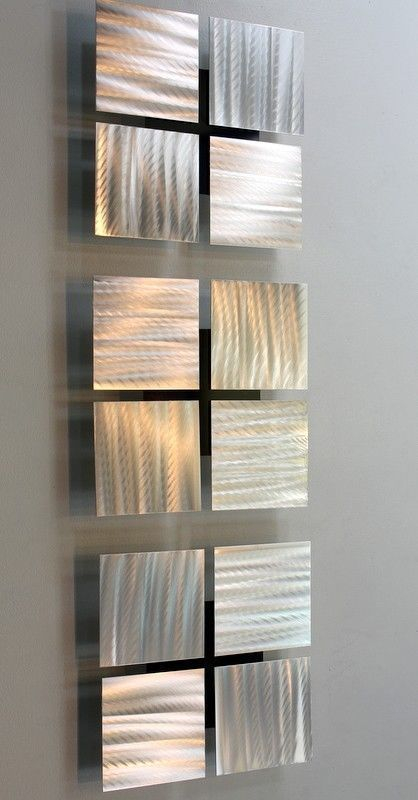 silver metal abstract square modern wall art set 3 of a