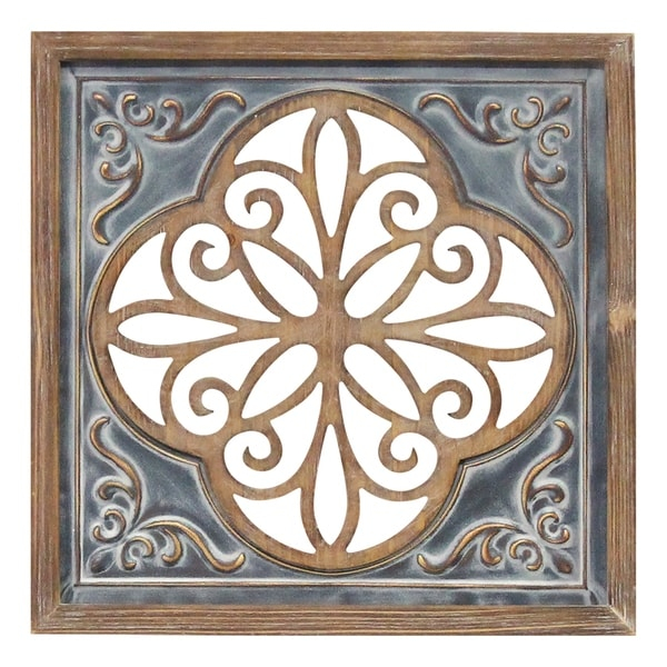 stratton home decor wood and metal blue square wall dcor