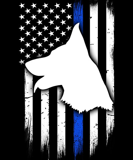 thin blue line flag k9 silhouette posters