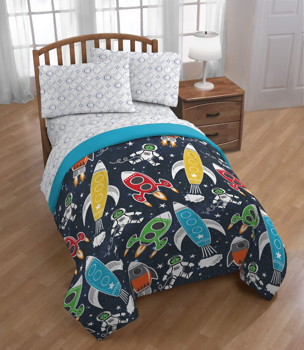 trend collector space twin bed in a bag bedding set w