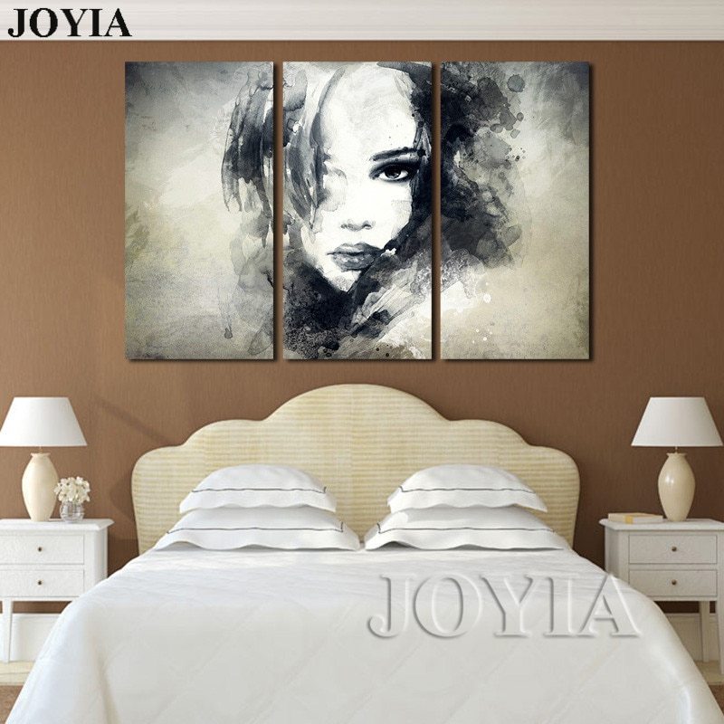 wall decor canvas art painting watercolor black and white