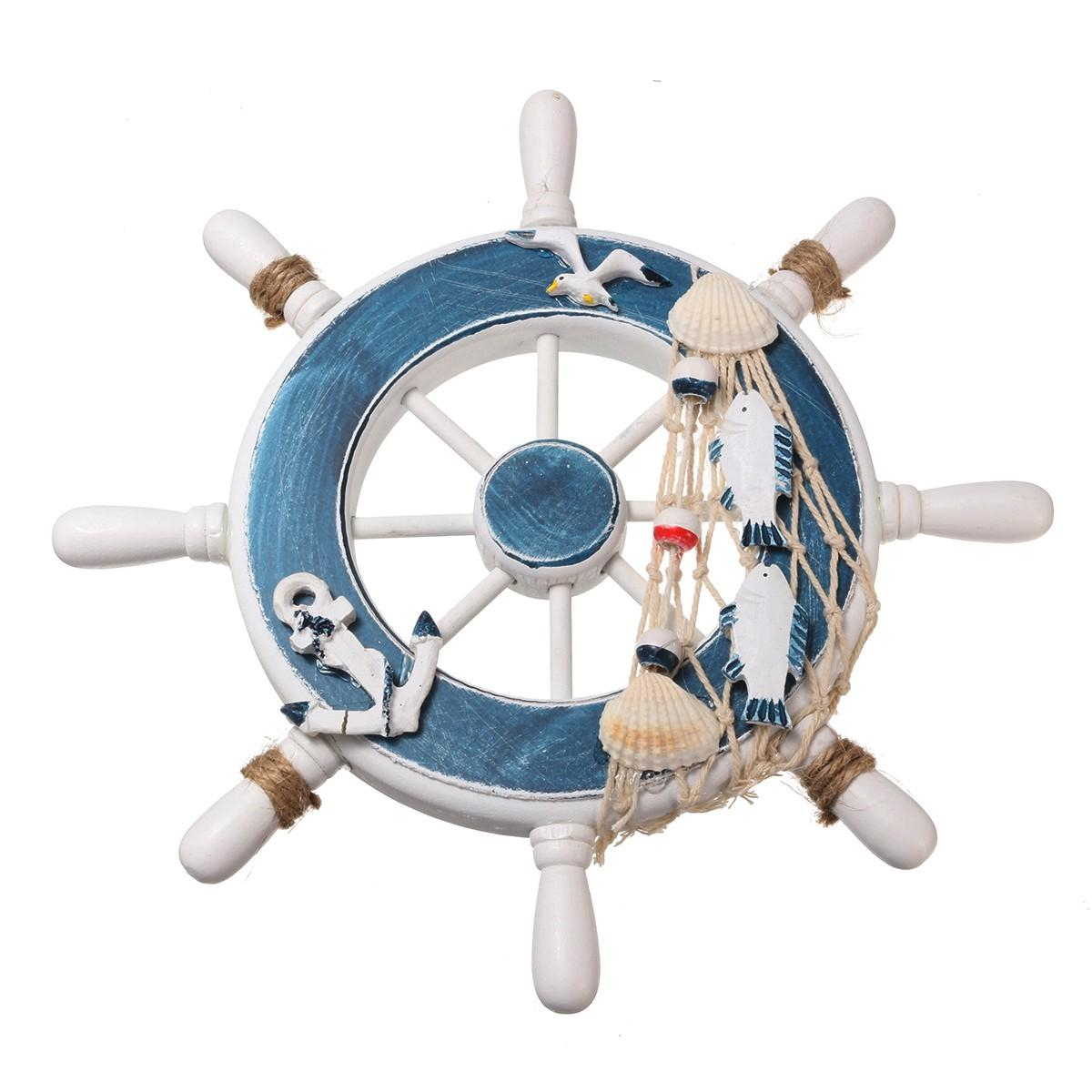 wooden boat ship steel ring wheel wall plaque nautical