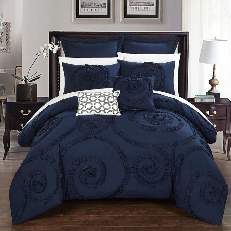 king size comforter set 11 piece blue bed in a bag w