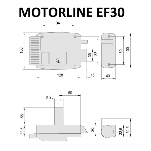 Cerradura eléctrica Motorline EF30 Izquierda