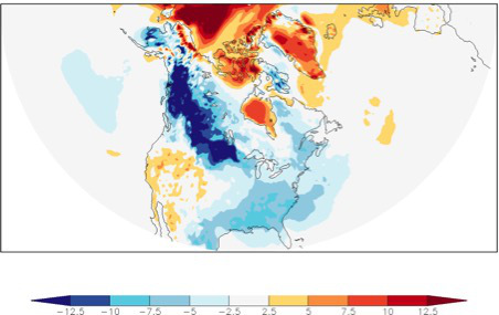 Fig.1b. This map shows daily mean ECMWF 1-day temperature forecast for December 10, 2016 compared to the 1981–2010 average of ERA-interim reanalysis.