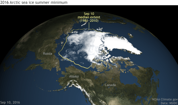 Arctic sea ice minimum as of September 10, 2016