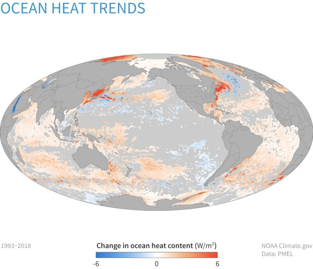 Global map centered on Pacific Ocean showing the trends in ocean heat content from 1993–2018. Orange shows increases in heating; blue shows decreases. {focus_keyword} Reporting on the State of the Climate in 2018 ClimateDashboard ocean heat content 2018 map 1400px