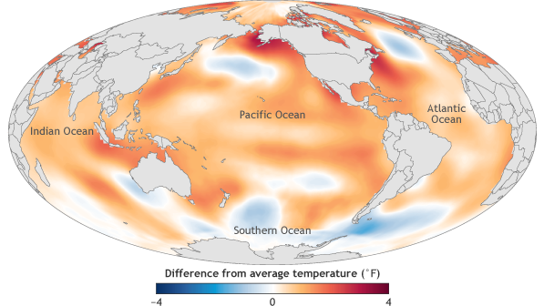 global map of sea surface temperature in 2016