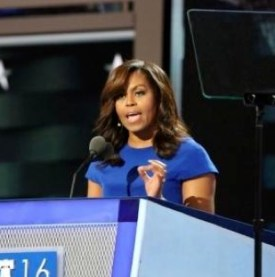 Michelle Obama speaking at the highly chaotic 2016 DNC.