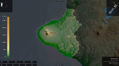 3D rendering of area including Mt. Taranaki, Egmont National Park, New Zealand.