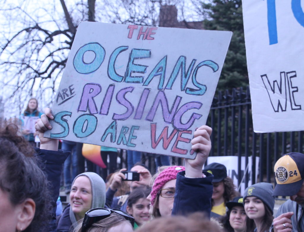 Striking students in Boston climate protest