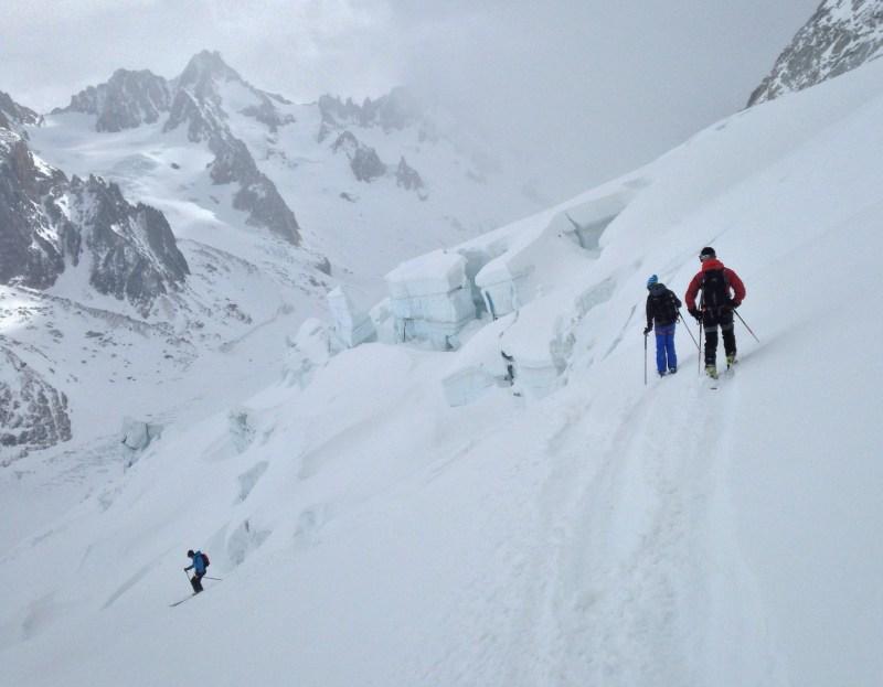 Descent to Argentiere Glacier