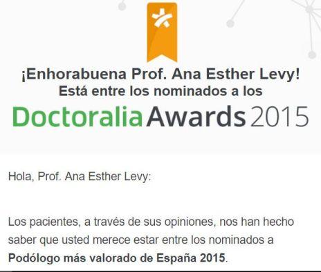 Ana Esther Levy nominada a los Doctoralia Awards-2015