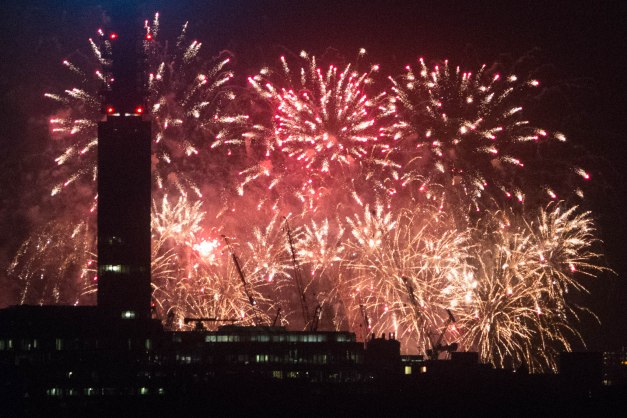 Fireworks from Primrose Hill on Bonfire Night in London
