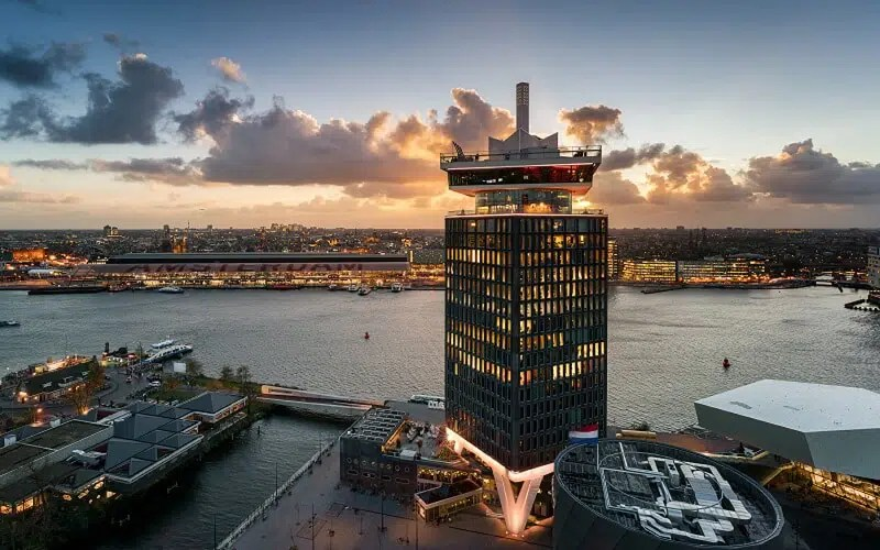 A'DAM Tower Top rooftop bars in Amsterdam Clink Hostels