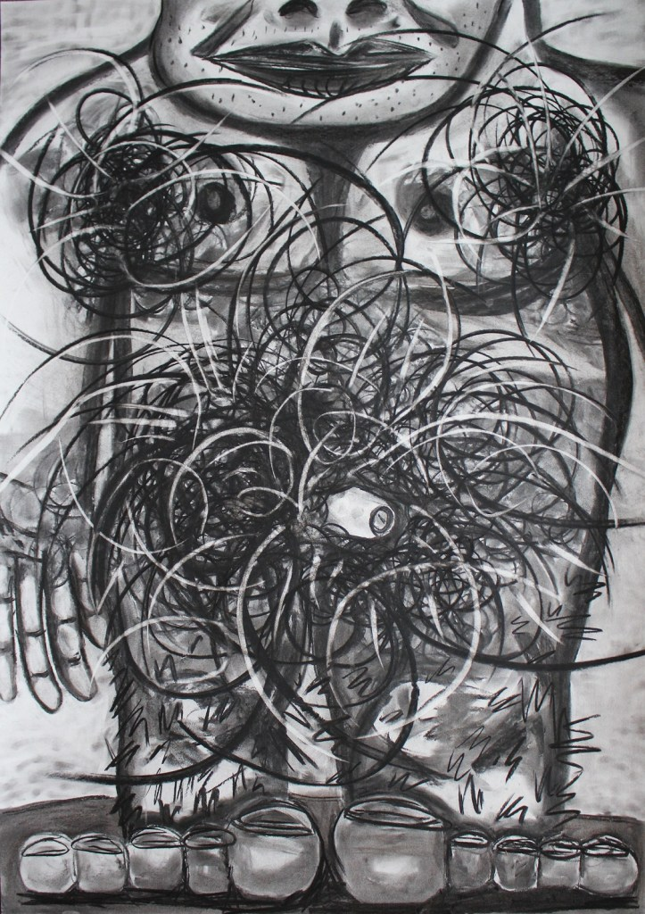 Excessive pubic hair. Charcoal on paper. 70x100cm. 2016