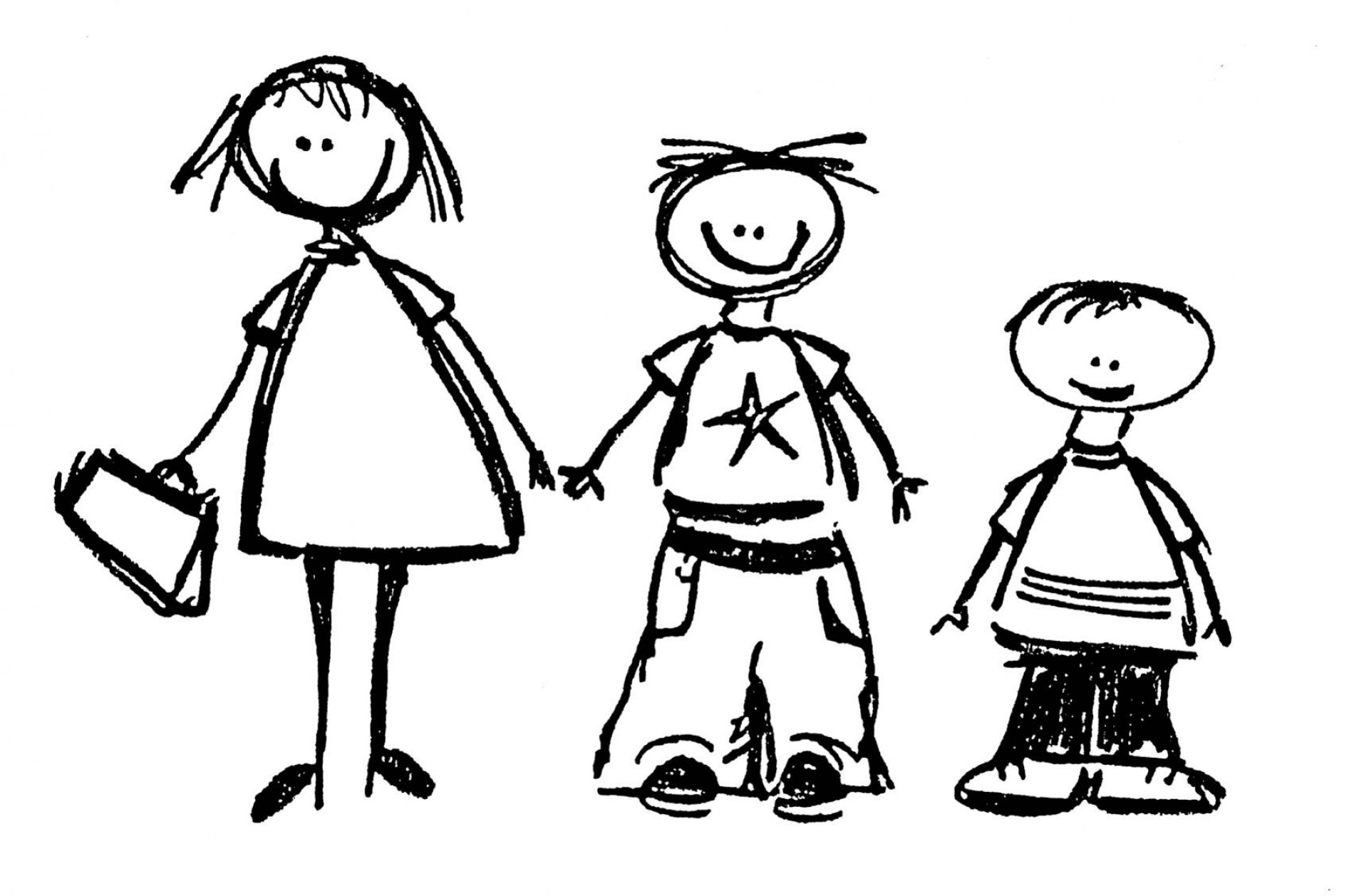Family Cartoon Black And White
