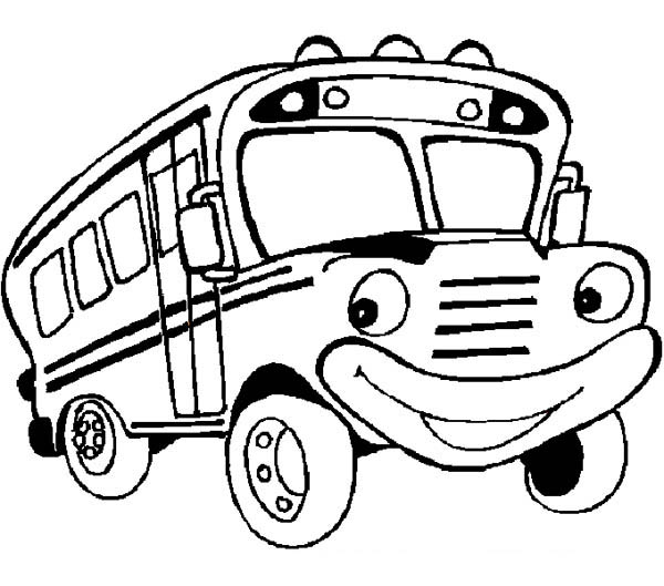 friendly mr school bus is ready for you coloring page kids